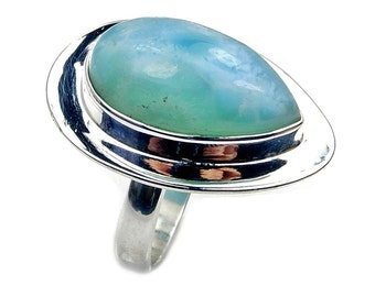 Large Dominican Larimar Ring & .925 Sterling Silver Ring Size 8.75 Jewelry , AB884