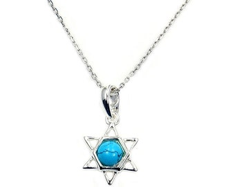 Turquoise Jewelry Jewish Star of David & .925 Sterling Silver Pendant Necklace , AB777