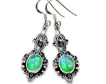 Green Moonstone & Sterling Silver Dangle Earrings ; AA861