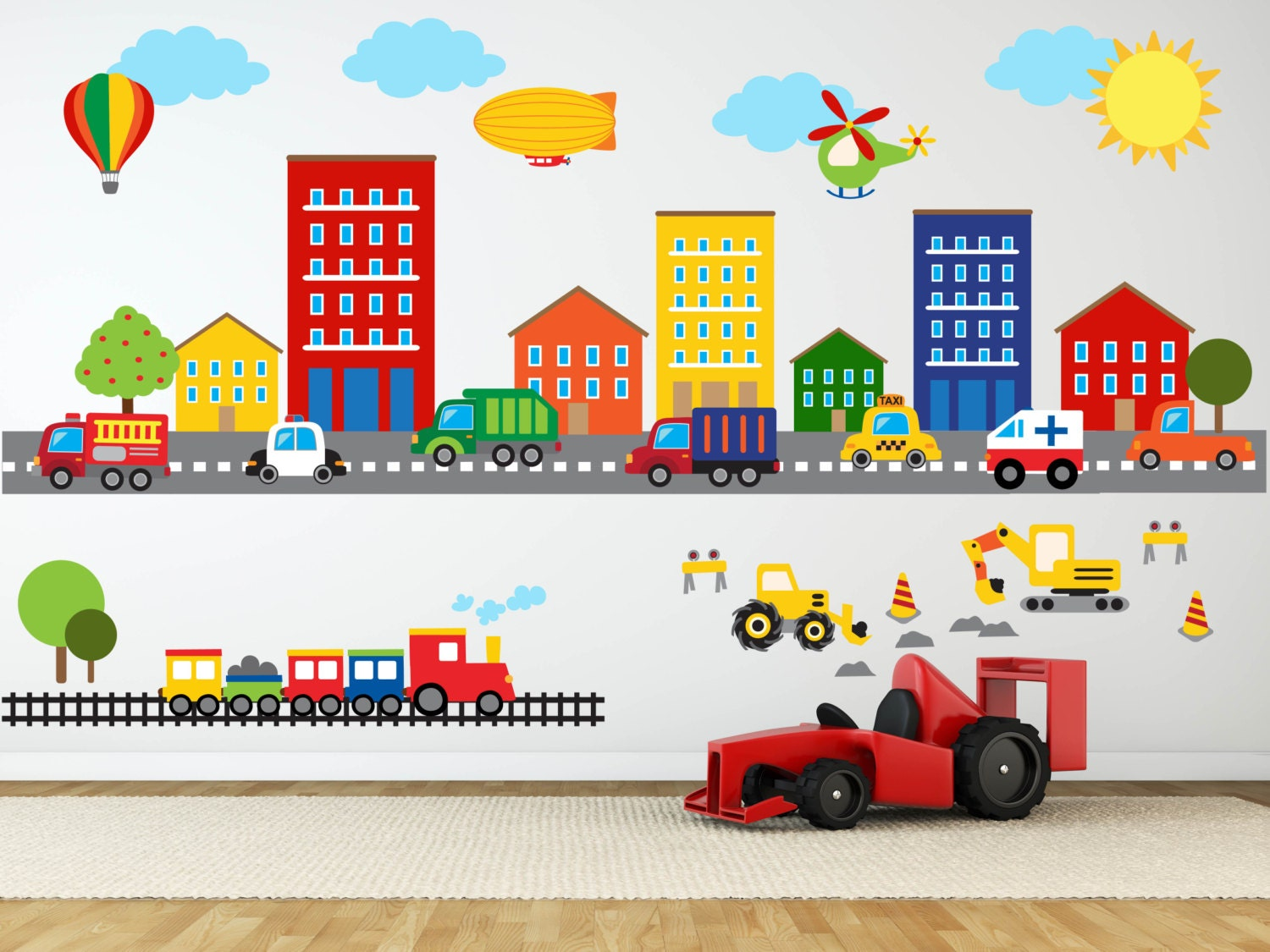 Construction wall decal truck wall decal transportation zoom amipublicfo Choice Image