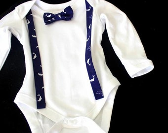 Body,baby bodysuits,set,bow,suspenders,maritim,dolphin