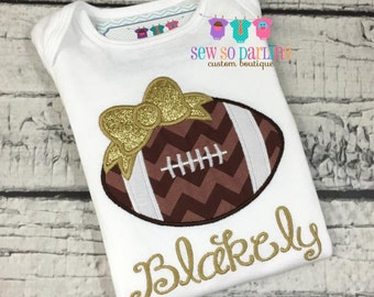 Baby girl football outfit - Baby girl gold Football shirt - personalized outfit - girl football shirt