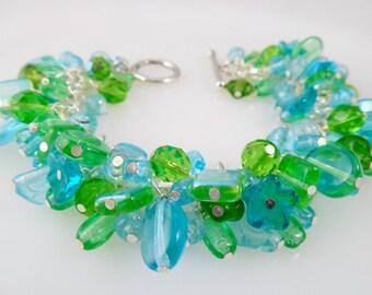 Green and Aqua Cluster Bracelet/ Czech Bead Cha Cha Bracelet