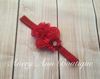 Red Headband, Flower Girl Headband, Baby Red Headband, Newborn Red Headband, Flower Headband, Holiday Headband, Christmas Headband