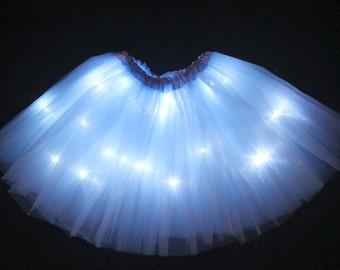 Child Light Blue LED Light up Tutu Skirt with Batteries Fits Toddler 2 to Girls 8