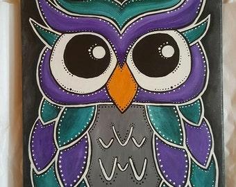 Owl Artwork, Nursery Owl Painting, Owl Painting, Ideas For Nursery, Kids Room Painting, Owl Decor, Babies Room, Acrylic Owl Painting