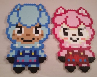 Alpaca Reese and Cyrus Perler bead toys, art or magnet, separate or set of both, animal crossing new leaf kawaii video games gift