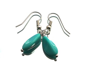SALE turquoise drop earrings, opaque turquoise bleu dropsCzech glass beads, stainless steel finishing and earhooks, sale, turquoise glass