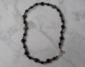 20.25 Inch Obsidian, Pyrite, and Smoky Quartz Gemstone Necklace Knotted on Nylon with Sterling Silver Findings