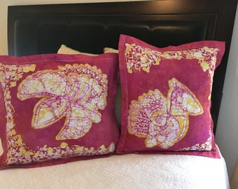 Two Batik birds pillows cover/Decor birds pillows/Home decor living room/Cushions decorative