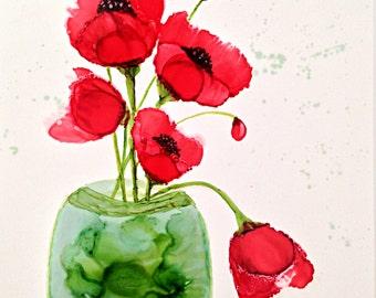 Alcohol ink art. Poppy XXI
