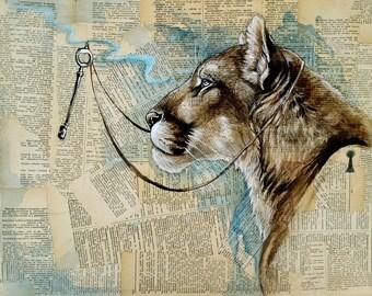 Unlocked - Cougar, puma, mountain lion, key, cat, big cat, 16x20