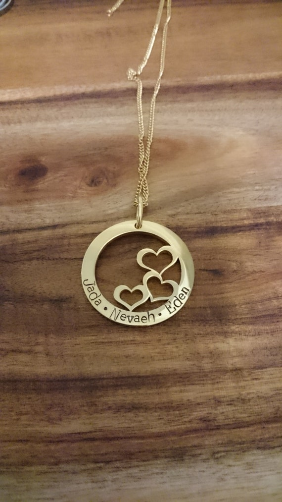 Hand Stamped Family Necklace- Gold plated Stainless Steel