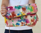 Oversized Clutch - Painted Clutch - Womens Foldover Clutch - Foldover Purse - Painted Purse - Art Bag - Envelope Clutch - Foldover Bag