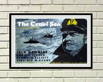Reprint of the Vintage war movie poster - The Cruel Sea