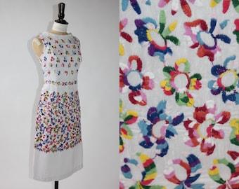 Vintage original 1950s 50s Acquer wholesale couture floral embroidered shift dress UK 8 US 4 S