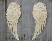Angel Wings, Wall Decor, Shabby Chic, Ivory, Cream, Gold, Large, Metal, Upcycled, Hand Painted, Shabby Chic Decor, Boho Chic, Nursery Decor