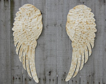 Wings Wall Decor large angel wings wall decor shabby chic aqua gold metal