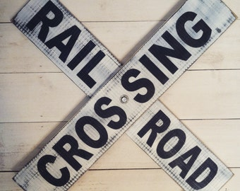 Wooden Railroad crossing sign- distressed/vintage look