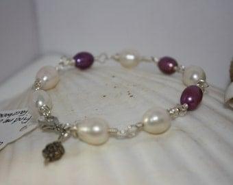 Elegant Freshwater Pearl Bracelet w/ Flower Charm