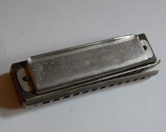 Super Chromonica M. Hohner G Metal Wood Harmonica Germany for Parts