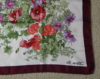 "33"" x 34"" d'este Wildflower and Ivy Scarf - White + Maroon Border"