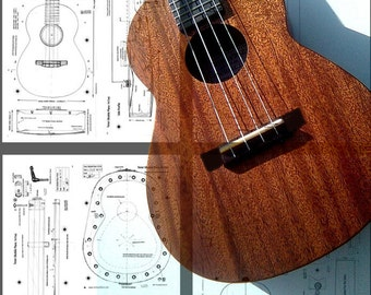 Tenor Ukulele Plans,  14 Fret model       4 Printed paper sheets full A1 size,  with  CD of digital files