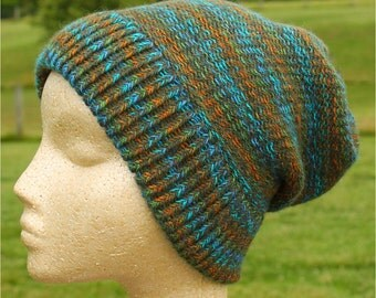 Alpaca Knit Hat in Green, Blue and Gold