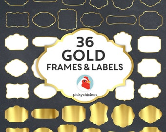 Gold Digital Frames - faux gold foil frames, gold digital labels, gold clip, gold borders, art tags borders clipart Instant Download 5037