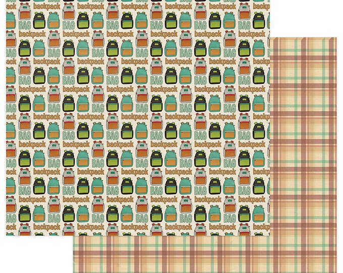 2 Sheets of Photo Play REAL GENIUS 12x12 Scrapbook Paper - Backpack (School Theme) RG2269