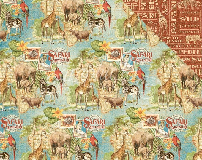 2 Sheets of SAFARI ADVENTURE Scrapbook Paper by Graphic 45 - Creatures Great & Small