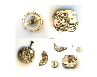 Benrus Watch Co, 17 Jewels, Model AX 3, Gold Gear Movements,  As Is Lot, Gears Movements and Parts, Watch Parts for Repairs Replacement