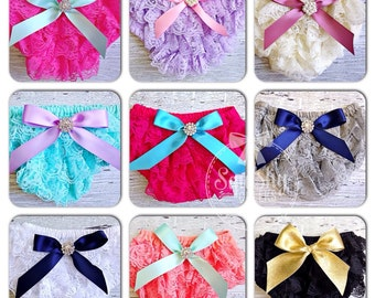 Lace Bloomers- YOU PICK COLOR - 3 sizes: Newborns, Babies & Toddlers - Lace Diaper Cover - Ruffle Bloomers - 1st Birthday Outfit - Weddings