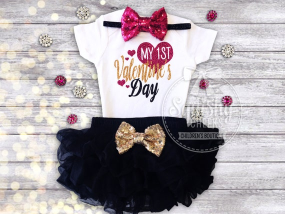 1st Valentines Day Outfit Baby's 1st Valentines Girl's Valentine's Outfit Valentines Day Bodysuit, Ruffle Bloomers, Sequin Headband