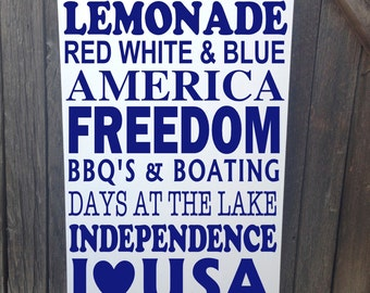 Patriotic Decor 4th of July Sign Fourth of July Decorations Wood Sign Wall Decor Patriotic Independence Day Freedom I Love USA America