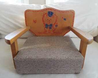 1960s mid century childs  booster chair wood