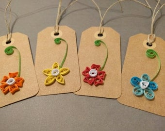 Quilling Tags, Paper Gift Tags, Quilling Gift Tags, Gift Tags, Paper Quilled Tags, Flower gift tags