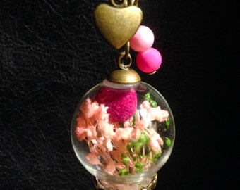 Pink terrarium Necklace