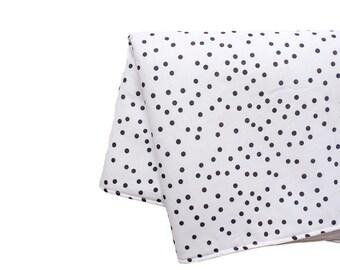Black and white polka dots pattern Baby Blanket - 70x120 cm  - Handmade in France