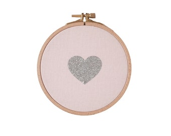 Heart shaped Wall frame - pale pink and silver glitter - House - Houseware - Decoration - Love - Christmas