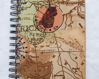 Map Patterned Fabric Notebook