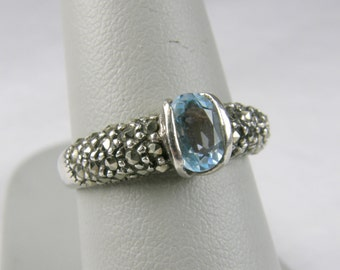 FAS Blue Topaz & Marcaite 925 Sterling Silver Ring ~ Size 7 1/4