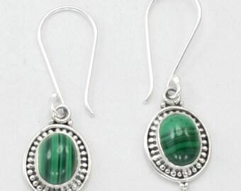 Malachite Earrings, Green Earrings, Oval Earrings, malachite and silver earrings, Boho Jewelry earrings,Earrings lot Gems & Jewelry