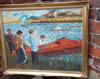 Original Oil on Canvas Boating Lake Impressionist Style