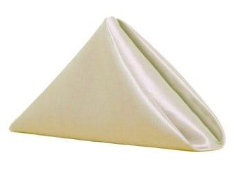 Ivory Napkin for Weddings Pack of 10 | Wholesale Satin Napkins