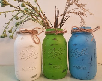 Distressed Green, Blue, and white Mason Jar, Painted Mason Jar, Wedding, Baby Shower