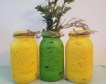 Distressed Green and Yellow Mason Jar, Painted Mason Jar, Wedding, Baby Shower