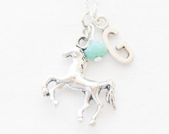 Horse Necklace Silver Horse Charm Necklace Equestrian Jewelry 3D Horse Jewelry Initial Necklace Horse Lover Gift Birthstone Jewelry Initial