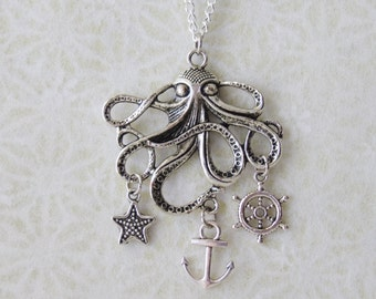 Sea Monster Necklace / Beach Charm Necklace / Silver Octopus Necklace / Nautical Pirate Necklace / Boating Necklace / Silver Squid Necklace