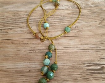 Bead lariat necklace, agate necklace, leather cord necklace, green bead necklace, festival jewelry, Gemini Virgo birthstone, gift under 30